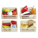 Wooden Play Food in Crates Set of 4