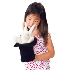 Folkmanis Rabbit in Hat Hand Puppet Girl