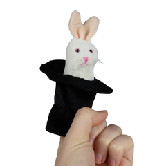 Folkmanis Mini Rabbit in Hat Finger Puppet Hand