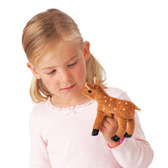Folkmanis Mini Fawn Finger Puppet With Girl