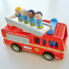 Indigo Jamm Freddie Fire Engine Peg People on Ladder
