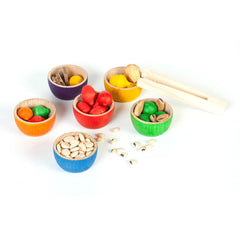Grapat Rainbow Colour Bowls with Acorns & Tongs 2