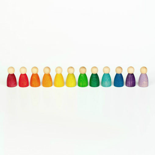 Grapat 12 'Nins' Rainbow Peg People