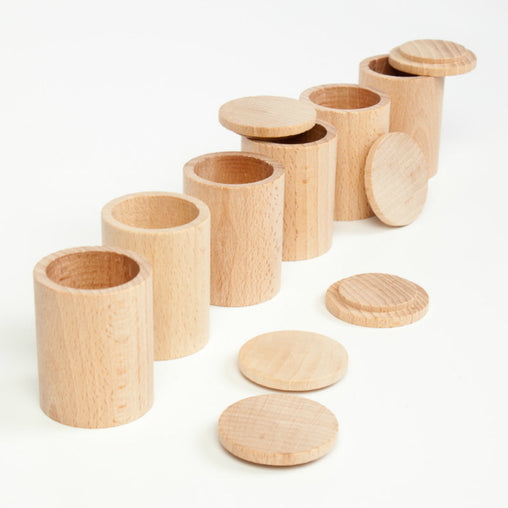 Grapat 6 Wooden Cups with Lids Set