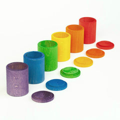 Grapat 6 Coloured Cups with Lids Rainbow Set