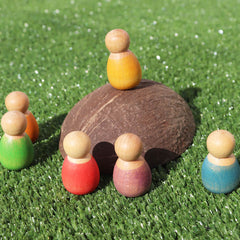 Grapat 6 Baby Nins Rainbow Peg People on Coconut shell