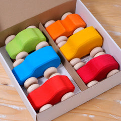 Grimm's Coloured Wooden Cars in Open Box
