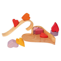 Grimm's Wooden Building Blocks Hearts Red