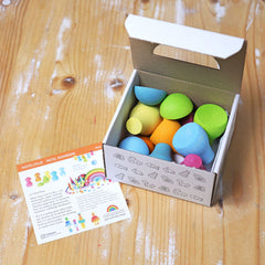 Grimm's Pastel Rainbow Wooden Mushrooms in box