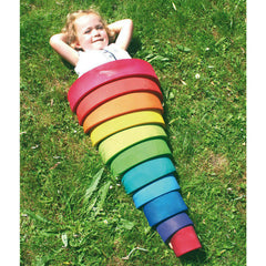 Grimm's Large Wooden Rainbow Stacker 6