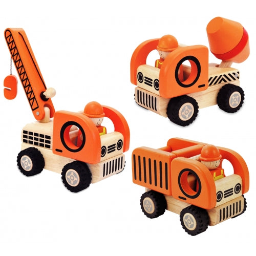 Construction Vehicles Play Set I'm Toy IMT27140 eco friendly sustainable wooden toy