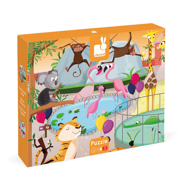 Janod Tactile Sensory Zoo Puzzle 20 Pieces Packaging