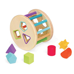 Janod Wooden Rolling Shape Sorter Pieces out