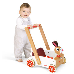 Janod Wooden Rabbit Walking Cart With Baby