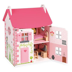 Janod Furnished Madamoiselle Doll House Pink Door Open