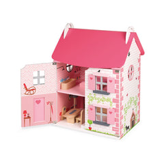 Janod Furnished Madamoiselle Doll House Pink Door Open 2