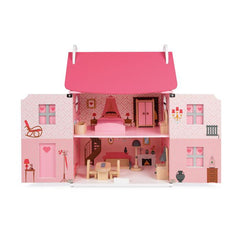 Janod Furnished Madamoiselle Doll House Pink Doors Open