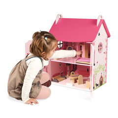 Janod Furnished Madamoiselle Doll House Pink With Girl