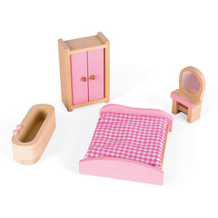 Janod Furnished Madamoiselle Doll House Pink Furniture 2