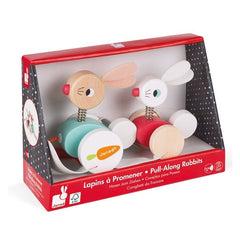 Janod Wooden Rabbits Pullalong Packaging