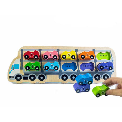 Kiddie Connect Wooden Counting Car Puzzle