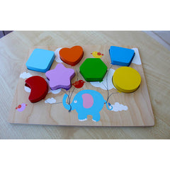Kiddie Connect Wooden Chunky Balloon Shape Puzzle on Table