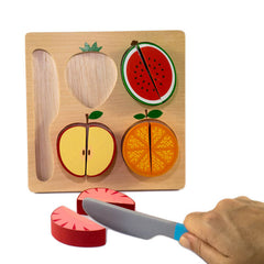 Kiddie Connect Wooden Slice the Fruit Puzzle Knife Cutting