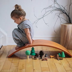 Kinderfeets Wooden Wobble Kinderboard Bamboo Girl Sitting Tunnel