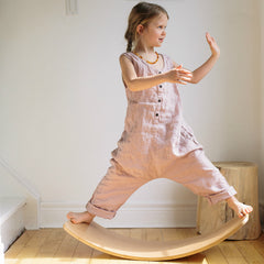 Kinderfeets Wooden Wobble Kinderboard Natural Girl Posing
