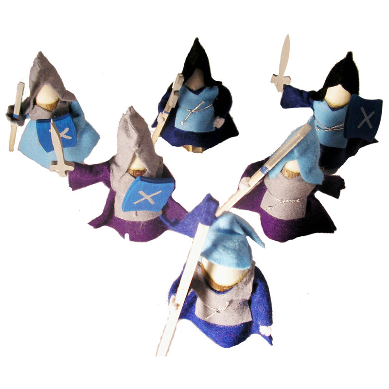 Magic Wood Knights Set of 6 Blue