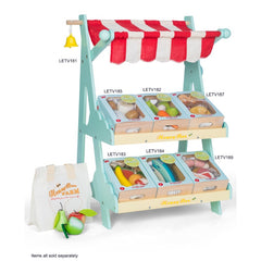 Le Toy Van Honeybake Market Play Food Harvest Vegetable Crate Stand