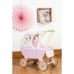 Le Toy Van Wooden Sweet Dreams Pram with Retractable Canopy 2
