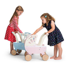 Le Toy Van Wooden Sweet Dreams Pram with Retractable Canopy Girls