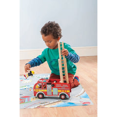 Le Toy Van Fire Engine Set Boy Playing Ladder Up