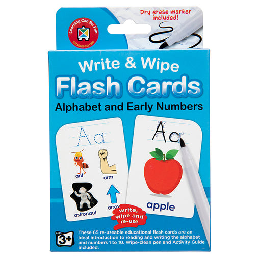 Write & Wipe Flash Cards Alphabet & Early Numbers with Marker Box