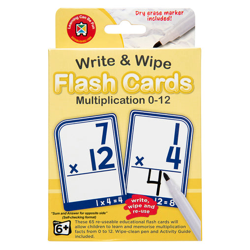 Write & Wipe Flash Cards Multiplication 0 - 12 with Marker