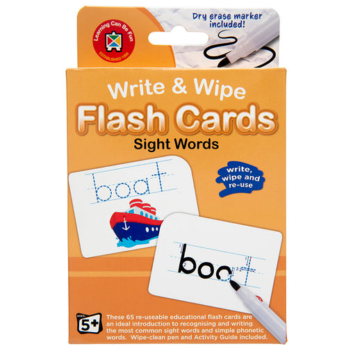 Write & Wipe Flash Cards Sight Words with Marker
