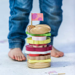 Make Me Iconic Australian Wooden Stacking Burger On Ground