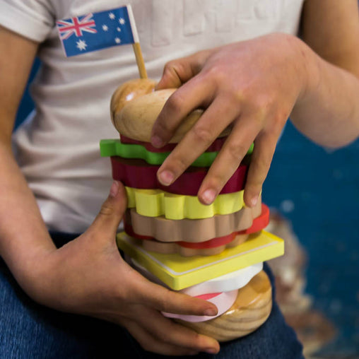 Make Me Iconic Australian Wooden Stacking Burger Hands