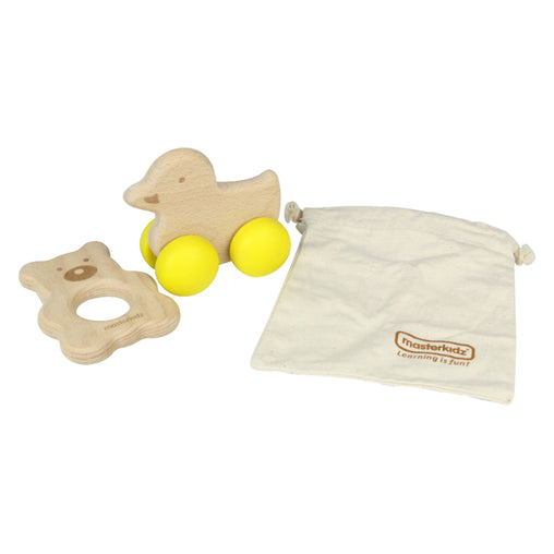 Masterkidz Duck & Bear Push Along & Teether Set Bag
