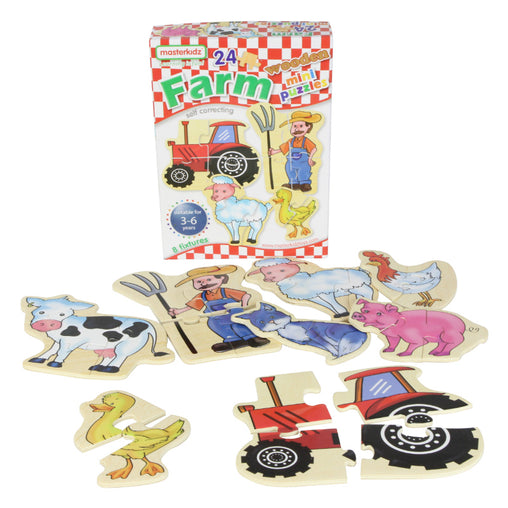 Masterkidz Wooden Mini Puzzles Farm Contents