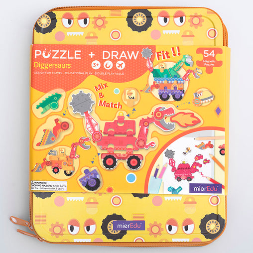 MierEdu Puzzle & Draw Magnetic Kit Diggersaurs Front