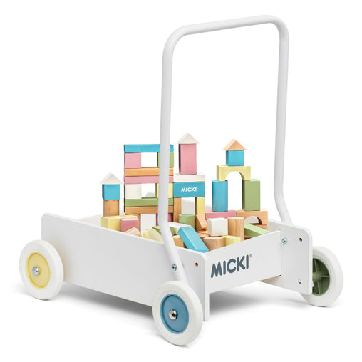 Micki Wooden Pastel Baby Walker with Blocks