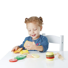 Melissa & Doug Sandwich Making Set 17 Pieces Girl at table