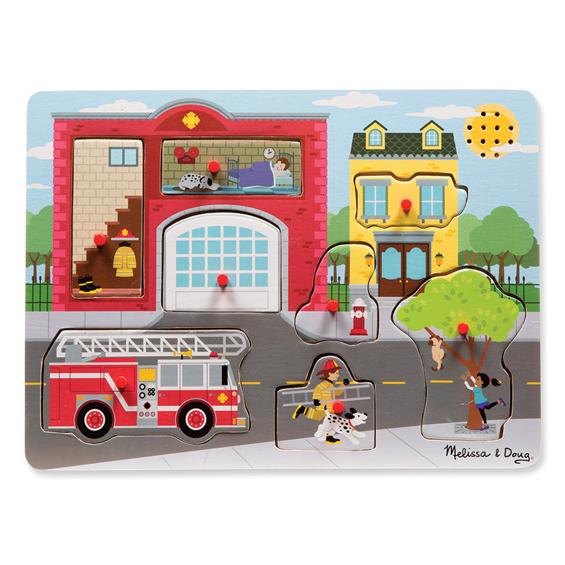 Melissa & Doug Sound Peg Puzzle Around the Fire Station