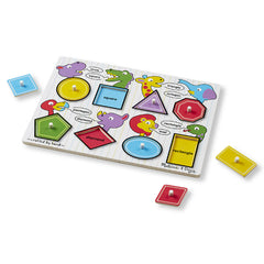Melissa & Doug Peg Puzzle Shapes Pieces Out