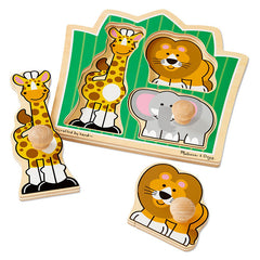Melissa & Doug Jumbo Jungle Friends Knob 3 Piece 2