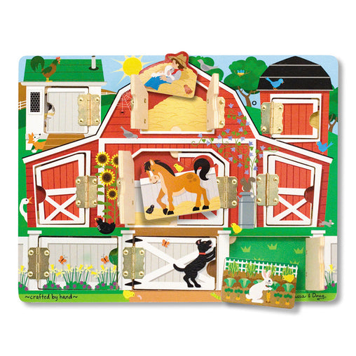Melissa & Doug Magnetic Farm Hide and Seek Latches Board