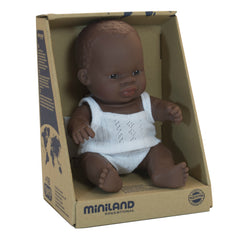 Miniland Doll African Boy 21cm Packaging