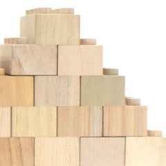 Mokulock Wooden Building Bricks 60 Piece Set Stacked
